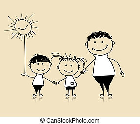 skitse, familie, far børn, sammen, smil, affattelseen, glade