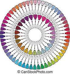 skitse, farverig, illustration, negl, vektor, polish.