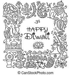 skitse, festival, diwali, holiday., indisk, konstruktion, din
