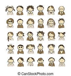 skitse, folk, konstruktion, din, iconerne