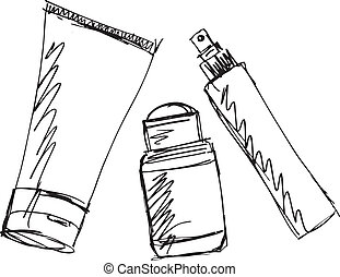 skitse, i, kosmetikker, dispensers, og, tube., vektor,...