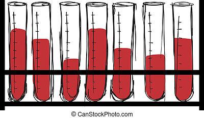 skitse, i, prøve rør, hos, blood., vektor, illustration