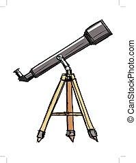 skitse, i, teleskop