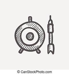skitse, ikon, target, pil, planke