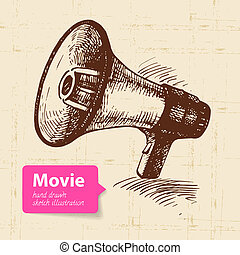 skitse, illustration., filmen, hånd, baggrund, stram