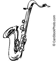 skitse, instrument, saxofon, tenor, messing, musikalsk ...