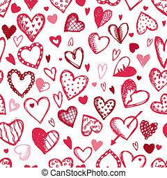 skitse, mønster, seamless, valentine, konstruktion, hjerter,...