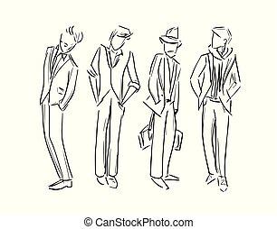 skitse, mode, sæt, illustration, vektor, mand