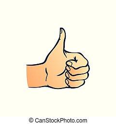 skitse, oppe, viser, isoleret, hånd, baggrund., firmanavnet, tommelfingre, menneske, hvid, gestus
