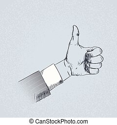 skitse, tommelfinger, firma, oppe, hånd, retro, gestus, mand