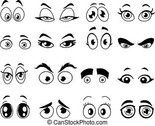skitseret, øjne, cartoon