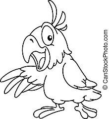 skitseret, aflægger, papegøje