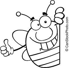 skitseret, bi, bag efter, pudgy, tegn