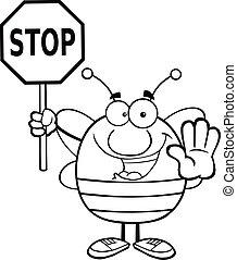 skitseret, bi, holde inde, holde, tegn