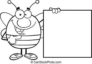 skitseret, blank, viser, bi, tegn