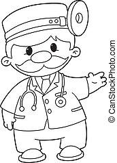 skitseret, doktor