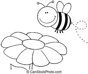 skitseret, flyve hen, blomst, bi