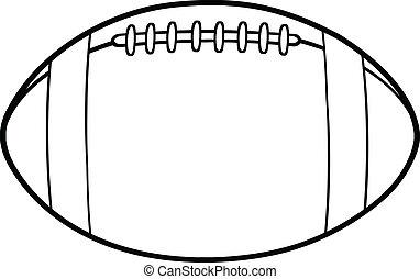 skitseret, fodbold, amerikaner, bold