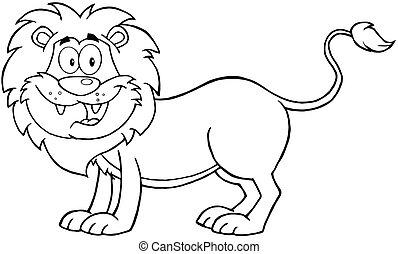 skitseret, karakter, løve, cartoon
