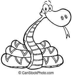 skitseret, karakter, slange, cartoon