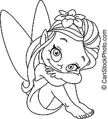 skitseret, liden, fairy