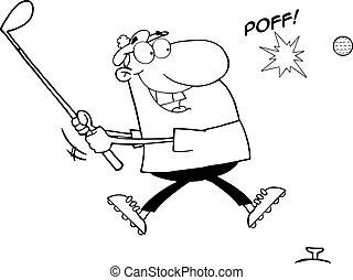 skitseret, mand, finder, en, golf bold