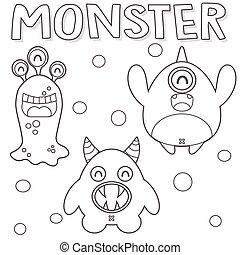 skitseret, monstre