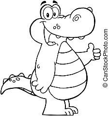 skitseret, smil, aligator