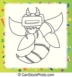 skitseret, version, karakter, robot, cartoon