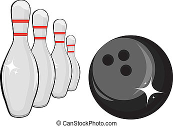Skittles and black ball on white background, bowling