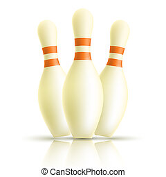Skittles for bowling on a white background