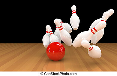 skittles, palla, rosso, bowling
