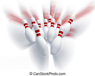 skittles, spiel, motion., effekt, bowling.