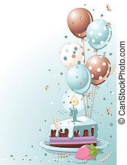 skiva, av, födelsedagstårta, med, ballo
