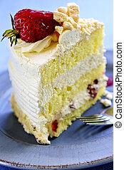 skiva, av, jordgubbe, maräng, tårta