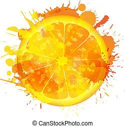 skiva, färgrik, gjord, stänk, bakgrund, apelsin, vit