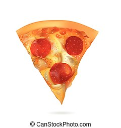 skiva, isolerat, illustration, realistisk, vektor, bakgrund, vit, pizza