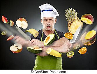 skiva, kock, grönsaken, mid-air, fasta