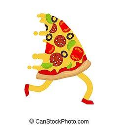 skiva, löpmaska springa, isolated., pizza