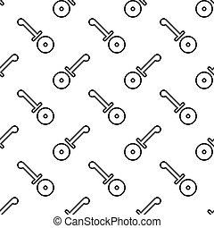 skiva, mönster, seamless, mönster, kutter, pizza, ikon