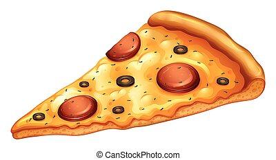 skiva, pepperoni pizza