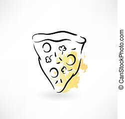 skiva, pizza, ikon