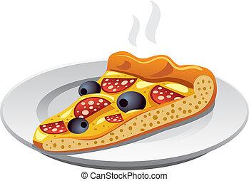 skiva, pizza