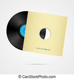 skiva, rekord, vektor, täcka, vinyl
