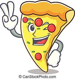 skiva, tecken, två, finger, tecknad film, pizza