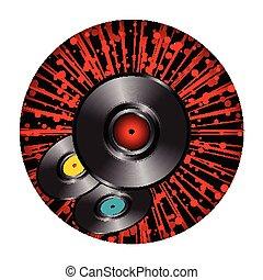 skivor, brista, gräns, över, stjärna, vinyl, runda