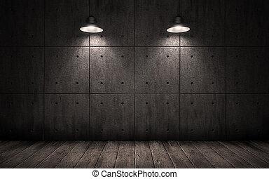 skivor, innertak, lamps., konkret, grunge, väggar, rum, ...