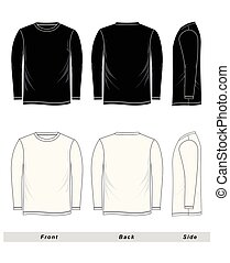 skizze, ärmel, langer, t-shirt, schwarz, weißes, leer