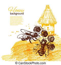skizze, abbildung, hand, honig, hintergrund, gezeichnet