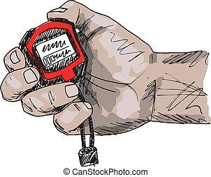skizze, abbildung, hand, vektor, besitz, stopwatch., mann